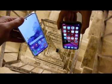 Dropping Samsung Galaxy S20 vs iPhone 11 Pro Down Spiral Staircase – 200 Feet – Will It Survive?